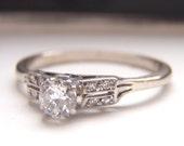 Sale. Adorable Art Deco Engagement Ring. Diamonds, White Gold & Platinum. Sweet, Petite and Elegant.