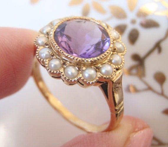 DEPOSIT for GABRIELLA  Amethyst Ring set with 14 Pearls
