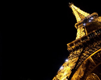 Night Eiffel Tower Abstract Paris France  8x10 Fine Art Print