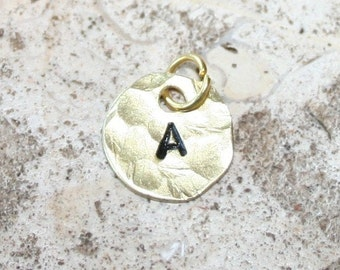Initial Pendant Hammered Hand Stamped Custom Brass