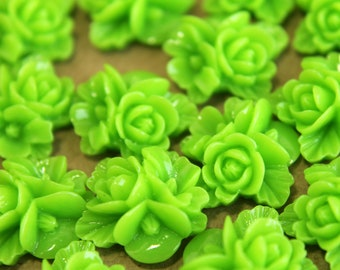 CLOSEOUT - 20 pc. Bright Green Flower Bouquet Cabochons 16mm | RES-106