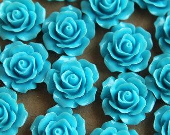 20 pc. Sky Blue Crisp Petal Rose Cabochons 18mm | RES-062