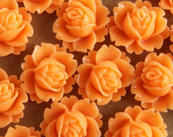 CLOSEOUT - 20 pc. Apricot Blooming Lotus Cabochons 18mm x 16mm - RES-174