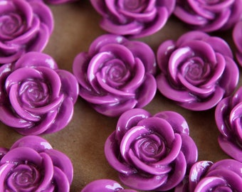 CLOSEOUT - 12 pc. Plum Open Rose Cabochons 18mm | RES-201