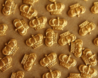12pc. Small Raw Brass Detailed Crowns: 10mm by 7mm - made in USA | RB-096