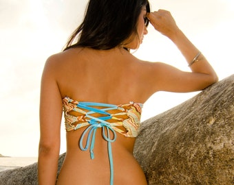 Peek-a-Boob Bandeau TOP with Corset Back- Blue Chevron and Turquoise Strap