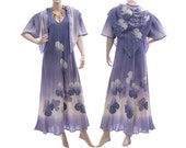 Boho maxi dress with triangle shawl, summer dress, hand dyed crinkle cotton in purple / art to wear for plus size women L, US size 14-16