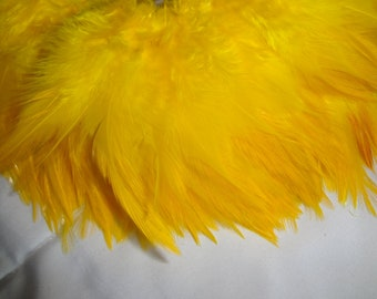 Sunny Bright Yellow Rooster Saddle Hackle Wholesale Bulk Supply Hair Extension Craft Design