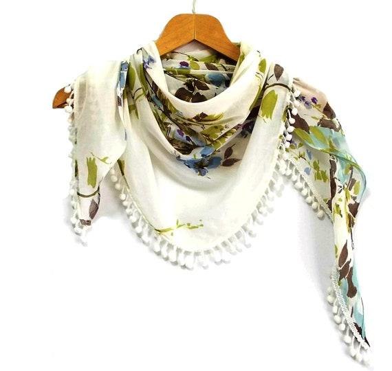 Floral scarf- Unique floral shawl- Triangle fabric scarf- Tassels scarf- Authantic, Romantic, Elegant- Viscose fabric shawl-