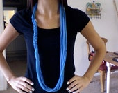 Blue Braided and Ringed Scarf