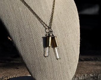 22 caliber double crystal necklace