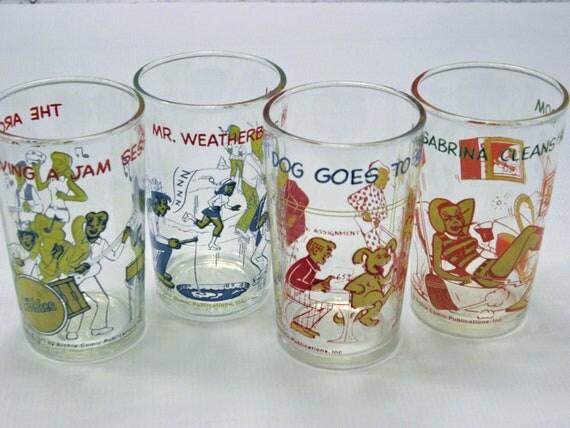 Vintage Glassware Classic Archie Cartoons Juice glasses Set of Four 1970s