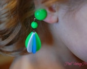 pretty vintage green white and blue dangle clip on earrings from Hong Kong