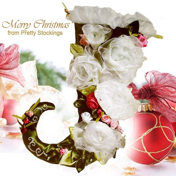 Christmas stocking beautiful white shabby chic roses