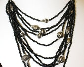 Hnadmade Recycled black seed bead multi strand tribal necklace