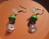 Green African Trade Bead Earrings