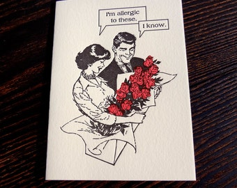 Allergic to Roses Letterpress Card. Free Shipping.