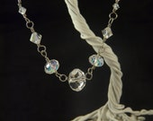 Aurora Borealis Clear Crystal Wire Wrapped Necklace with Toggle Clasp