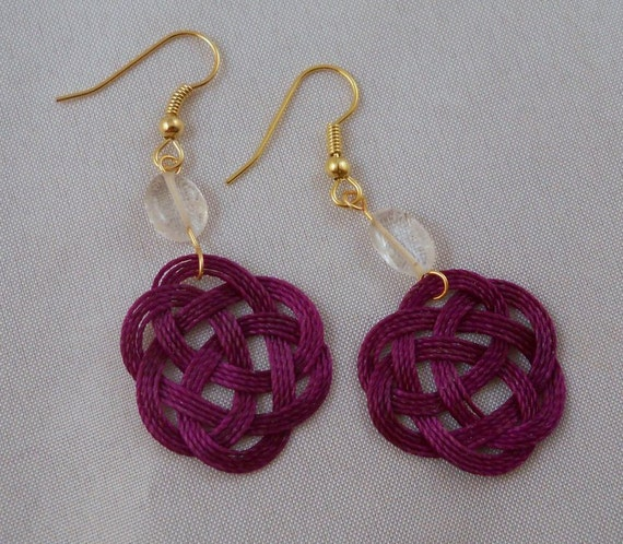 Hypoallergenic Purple Celtic Sailor Knot Tied Thread Earrings Nickel Free 22K Gold