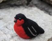 Set of 5 Handmade Felt Birds - Bullfinches, Christmas Ornament, Home Decoration - READY TO SHIP