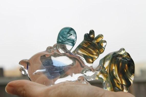 """Reserved Vladimir Glass Sculpture Pet Fish """"Collie Blue"""" Lamp work Signed JKLD"""