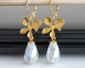Orchid flower gold earrings, dangle AB crystal earrings, bridesmaids gift, wedding jewelry