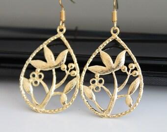 Oriental garden gold earrings, teardrop dangle earrings, bridesmaids gift, wedding jewelry
