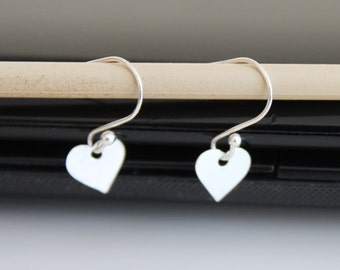 Sterling silver tiny heart earrings, 925 silver earrings, simple everyday jewelry