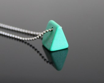 Turquoise green triangle bead silver necklace, mini pyramid necklace, simple everyday jewelry. Layering necklace.