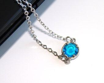 Capri blue Swarovski crystal necklace, petite silver necklace, simple everyday jewelry