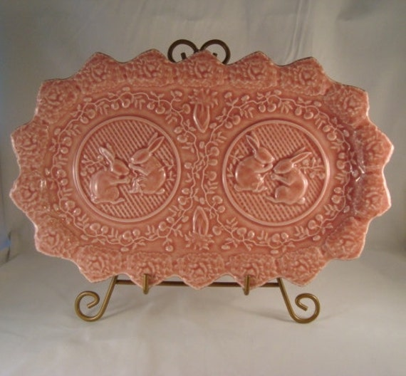 Vintage Pink Rabbit Platter from Portugal