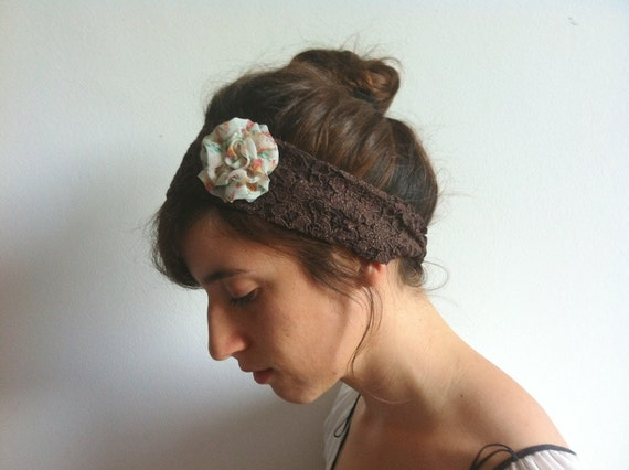 SALE Lace Headband - Brown Headband - Lace Headband with Chiffon Rosette - Womens Headbands Head Wraps, Head Bands Fabric Headband