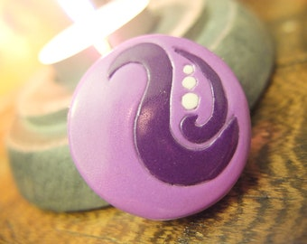 Phoenix Feather Purple - polymer clay circle pendant with silver pendant bail