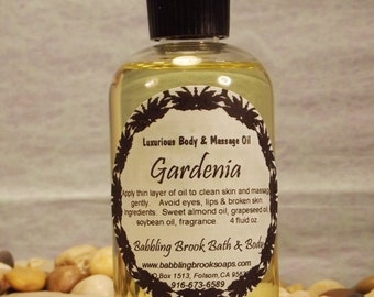 Gardenia Massage & Body Oil blended by hand with natural plant oils