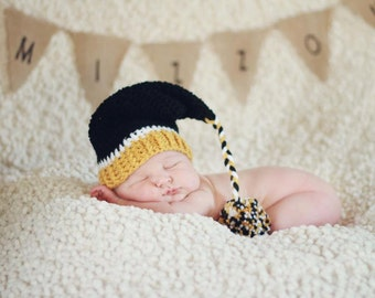 Crochet MIZZOU Elf Stocking Cap with tail/pom pom - Photo Prop