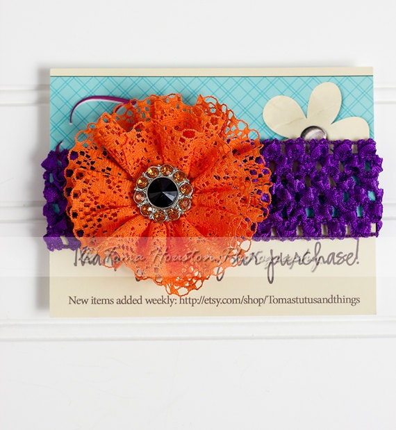 Orange Lace Flower, Purple Crochet Headband, Halloween