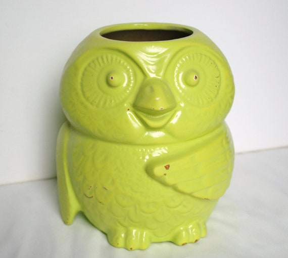 Lime green owl jar retro pop art funky interior design modern kitschy home decor