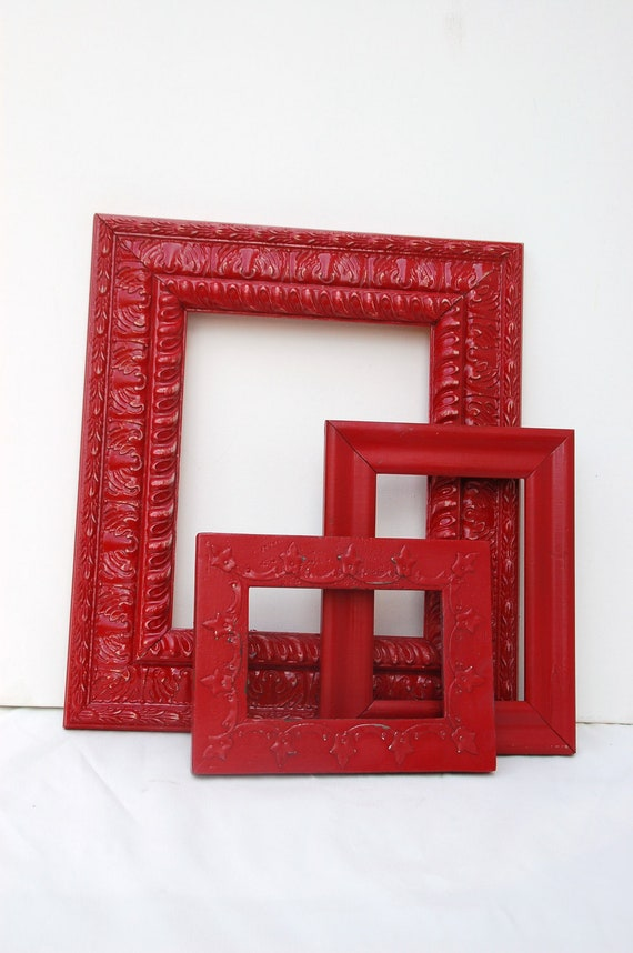Red frames set  gallery wall painted frames of three upcycled distress gallery wall frames ornate detailing