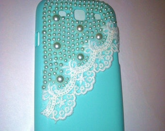 Samsung i9300 Galaxy SIII S3 Victorian Tiffany Blue Pearls and Lace case