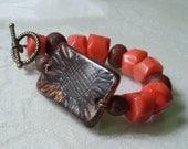 Sunflower and coral chunky bracelet Claire Cole
