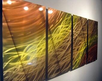Metal Art Wall Art Aluminum Decor Abstract Contemporary Modern Sculpture Hanging Zen Textured - 2 Suns