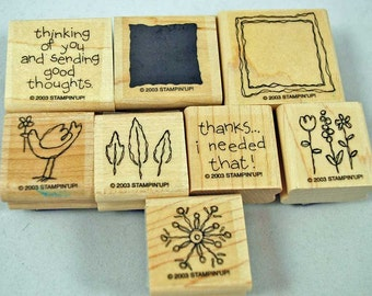 """Stampin Up Stamp Set - Rubber Stamps - """"Sweet and Simple"""" 2003, Retired, NEVER USED  - Scrapbooking, Cardmaking"""