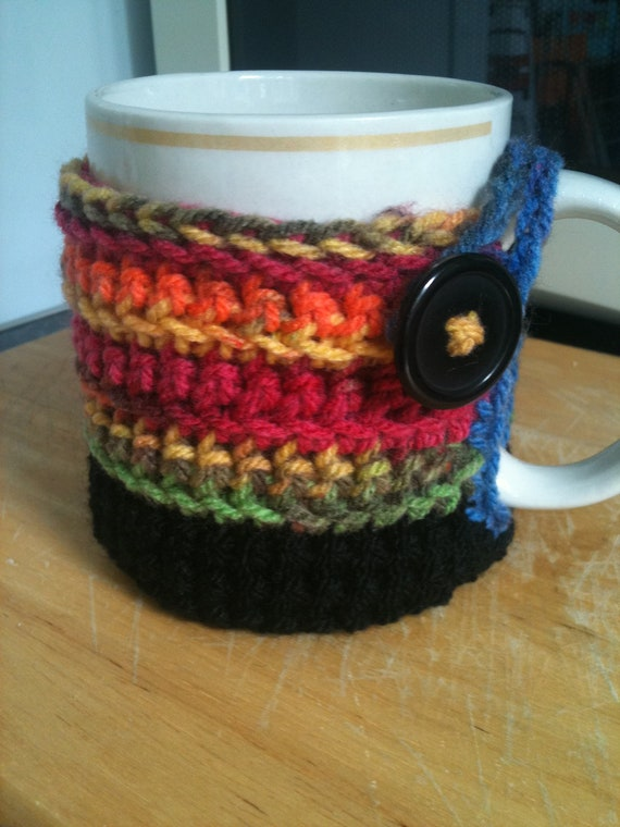 Crocheted  mug cosy - black, blue, green, orange, pink, yellow - cup cozy