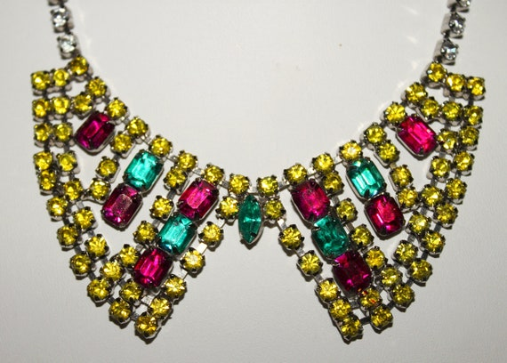 Upcycled Miu Miu-Inspired 1950s Painted Rhinestone Collar Bib Necklace