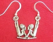 Pewter Gymnast Charms on Sterling Silver French Hook Dangle Earrings-5462