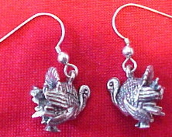 Pewter Turkey Charms on Sterling Silver Ear Wire Dangle Earrings  - Free Shipping in the US - (5248)