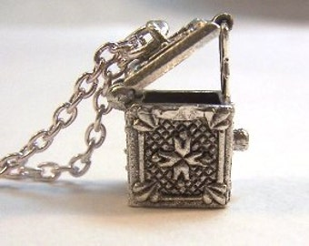Pewter Opening and Locking Prayer Box Charm on a Link Chain Necklace- Free Shipping in the US - (5017)