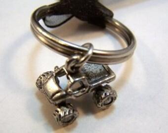 Pewter Monster Truck Charm Cake Pull - Groomsman Style on Key Ring -  5418
