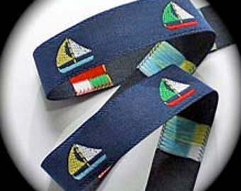 COLORFUL SAILBOATS Jacquard Ribbon - 5/8""