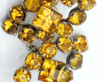1940s Yellow Scatter Pins Vintage Rhinestone Jewelry Art Deco 1940s Collectible Autumn Winter Yellow